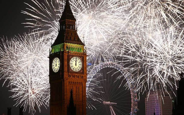 Fireworks explode over Big Ben and the London Eye in central London as 2015 is welcomed in in the UKPicture: Peter McDiarmid/Getty Images