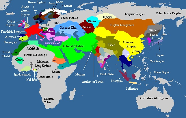 Map of the Old World in 820 AD. The area colored in olive drab shows the Tibetan Empire as it was in 820 AD