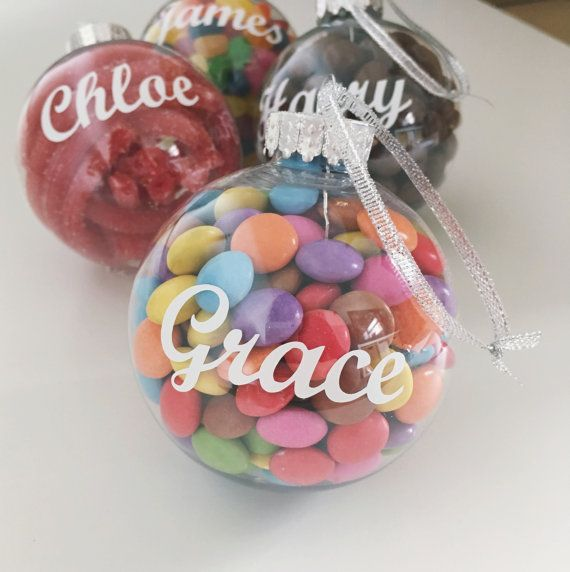 Christmas Sweet Bauble decoration. Personalised Clear baubles refillable with sweets
