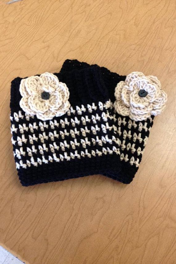 Crochet Boot Cuff with Rosette by HeatherBourque on Etsy, $14.00