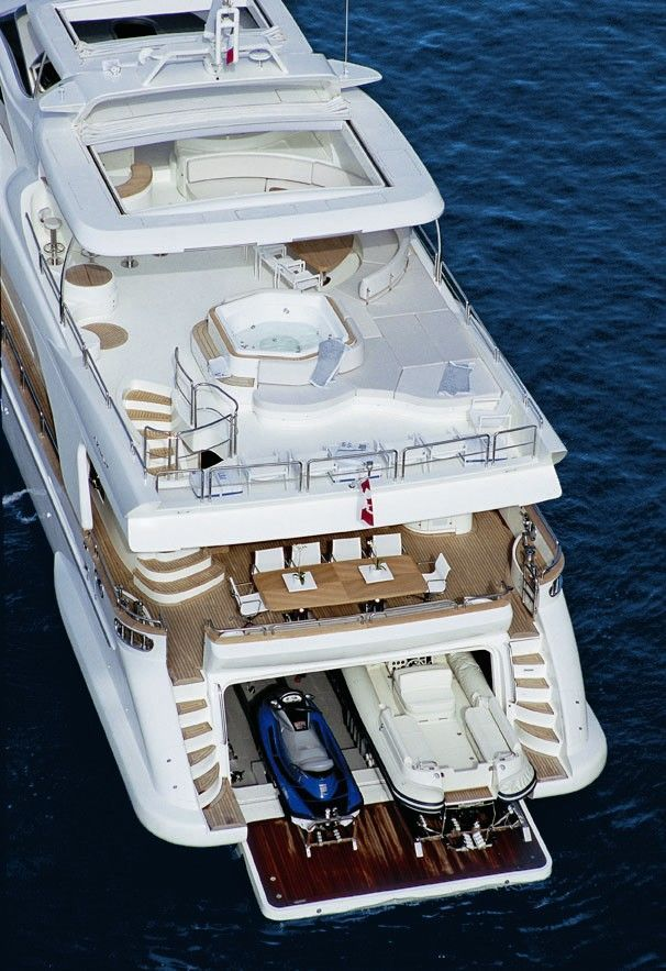 Yacht with toys.