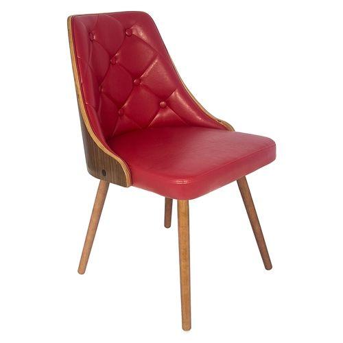 Cadeira Vergada Retrô Vermelho Pés de Madeira Fullway - 81x52 cm | Carro de Mola - Decorar faz bem.
