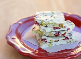 ... cherries, pistachios, vanilla almond bark, white chocolate chips