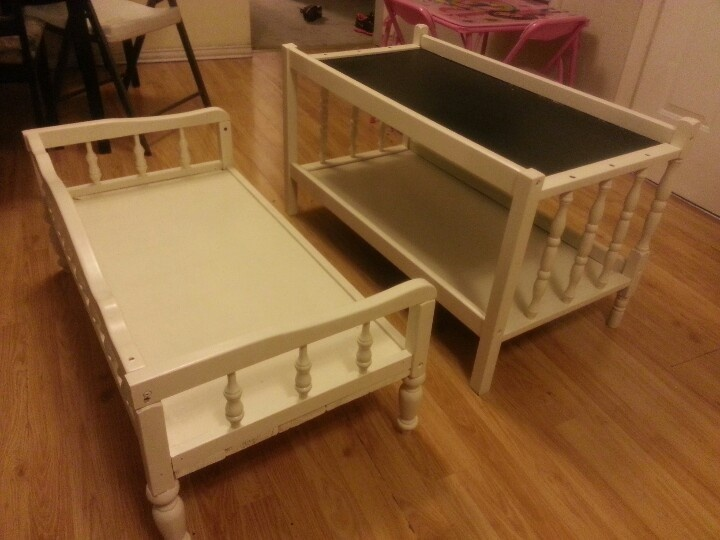 Was A Changing Table. Now A Bench And Table W/ Chalkboard Top