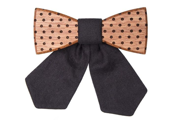 The Fora wooden bow tie is an extraordinary addition to your collection. It was created using the best mahogany and finished with hand-sewn black fabric. The dots are added by a special laser etching method. We added an elastic band that adjusts to your neck to maintain maximum comfort. It is pleasant to wear due to its light weight.  The Fora wooden bow tie is an ideal gift for every woman.