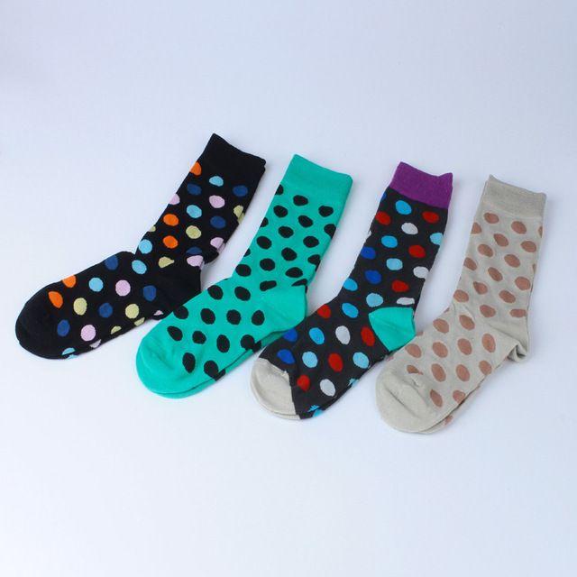Highquality  Cotton long new brand lovers women socks men's sock Colorful Point fashion Men socks women Stripe Korea Happy socks
