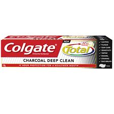 Colgate Total Charcoal Toothpaste - Colgate Total Charcoal Deep Clean has micro charcoal particles. Anti germ protection on 100 percent of mouth surfaces