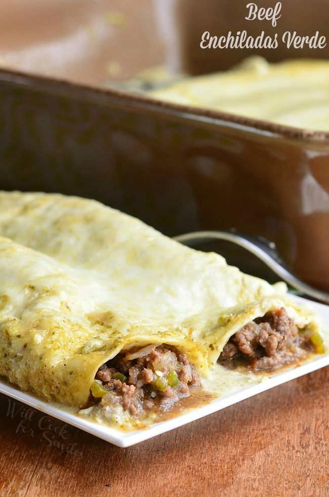 Beef Enchiladas Verde. These amazing Beef Enchiladas Verde are made with ground beef, tomatillos, jalapeno peppers, and cheese and baked in creamy tomatillo sauce. | from willcookforsmiles.com