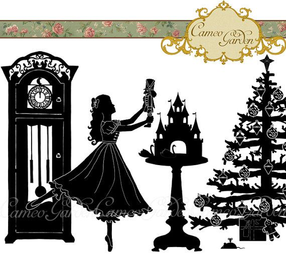 are you ready to get crafty for Christmas? perhaps a little clip art silhouette set with the theme of The Nutcracker - my favourite ballet! - will help get you started. Silhouette The Nutcracker Clipart  Christmas Clip by CameoGarden