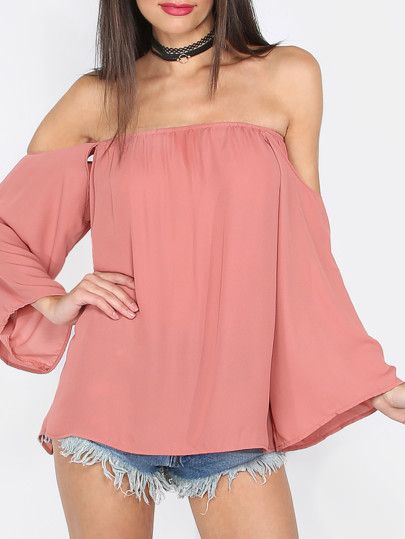 Pink Off The Shoulder Long Sleeve Blouse