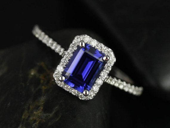 Lisette 14kt White Gold Rectangle Emerald Cut Blue Sapphire and Diamonds Halo Engagement Ring 1.25 ct center $1295