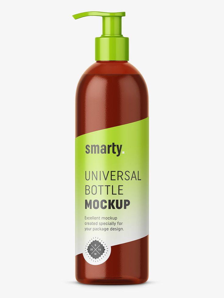 Bottle with pump mockup / amber