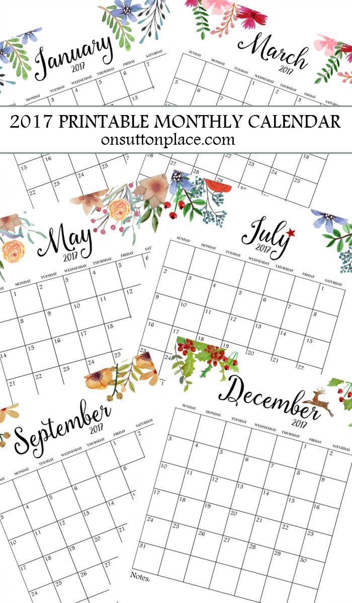 2017 free printable monthly calendar includes free year at a glance individual months - Printable Printable