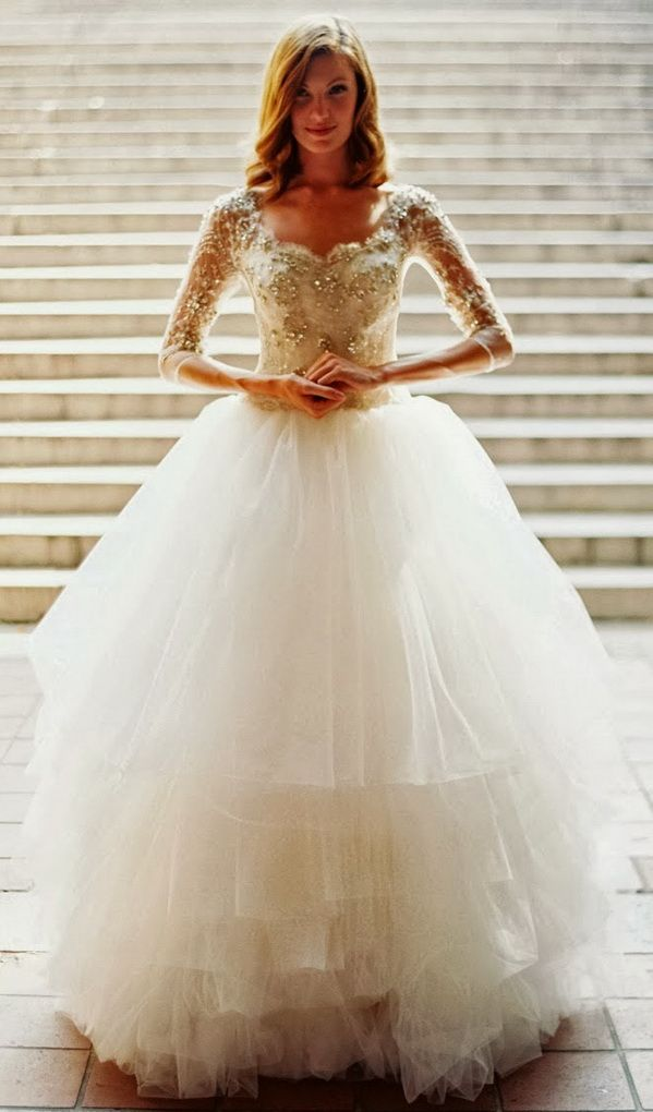 sparkling wedding ball gown with long sleeves for winter weddings 2014 from Tulle & Chantilly