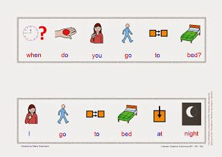 Babel - Free Language/Speech Therapy Resources. (PECS/ Montessori): Making Sentences - Wh Questions - When
