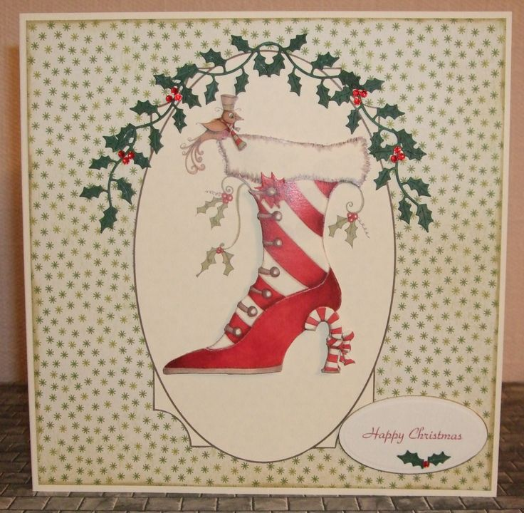 A different kind of Christmas card. The boot decoupage is from Katy Sue Designs & set off with die cut holly sprigs.