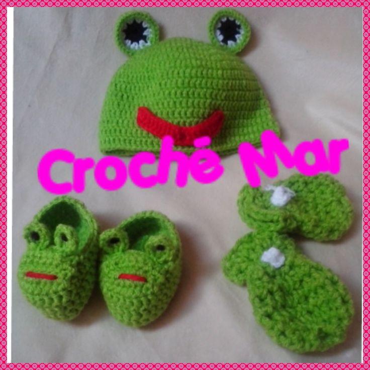 Conjunto de rana para bebe por Croche Mar