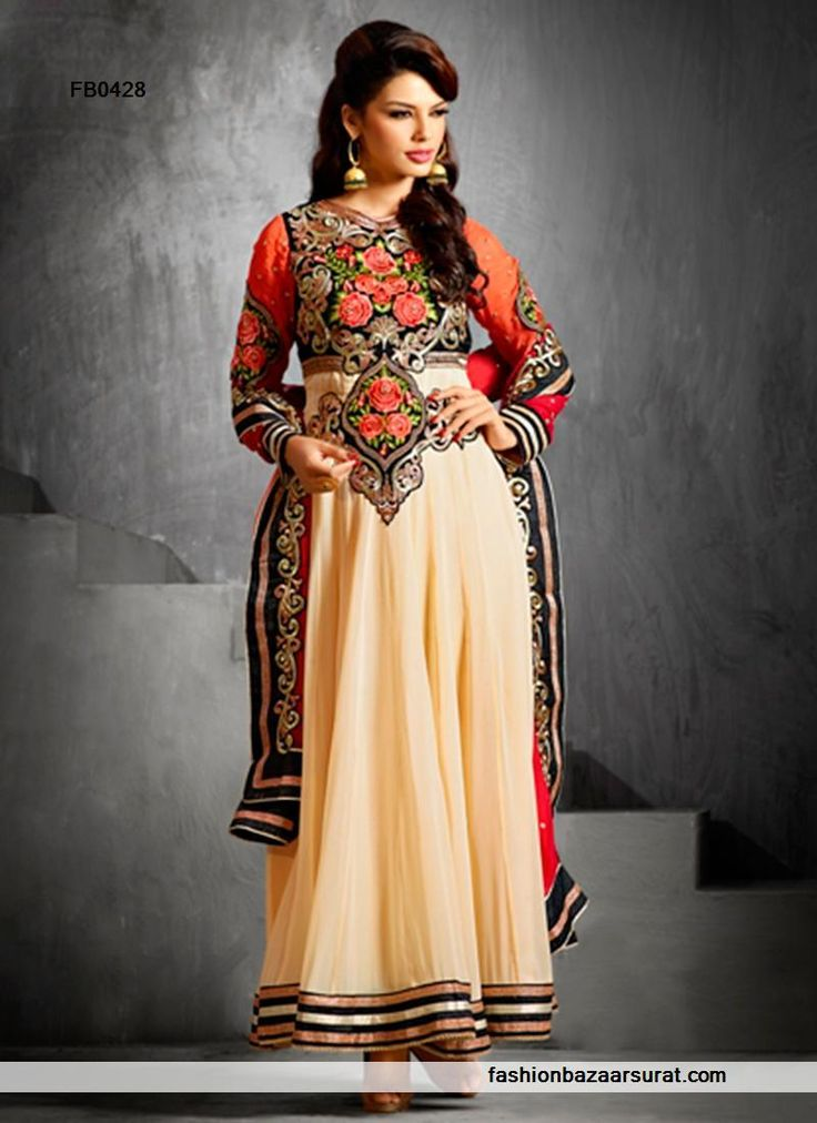 Indian salwar kameez store online to buy designer salwar kameez and salwar suits online. Buy this Fashionable Fancy Thread Cream Anarkali Salwar Suit for wedding.
