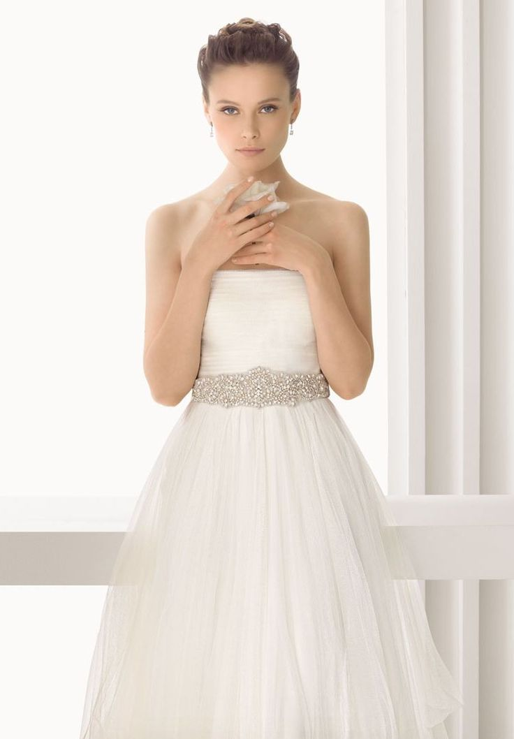 Tulle strapless A line. Would love even more if it had a sweet heart or a semi-sweetheart neckline