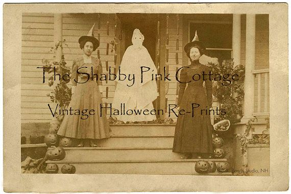 Vintage Halloween Photograph Witches and Ghost on by CollageSheet, $8.50