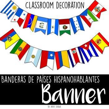Estos banderines de países que hablan español son geniales para decorar tu aula de clases o algún evento o feria de lenguaje español. Incluye la bandera y el nombre de cada país a todo color. Solo imprime, recorta (lamina si quieres mayor duración) y cuelga en una cuerda.