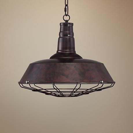 Handsome with an industrial look, this single pendant light features a worn rust bronze finish that complements the warehouse-style look.