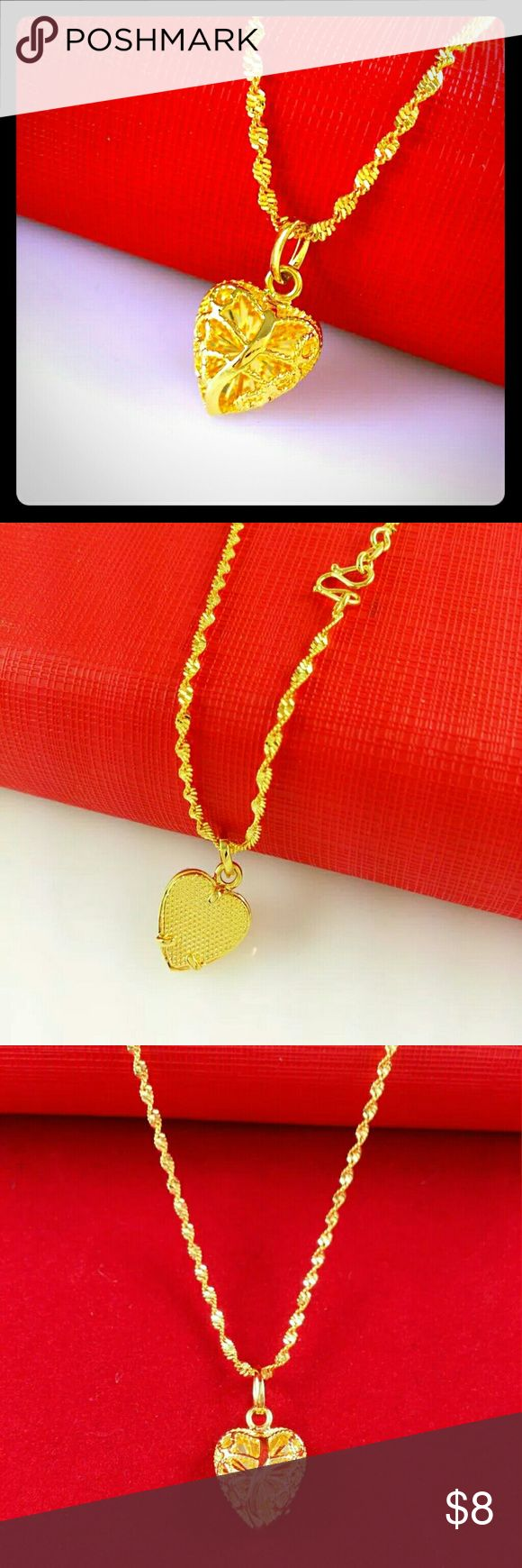 "24K Gold Filigree Heart Shaped Pendant and Chain Intricate filigree work in real, solid 24K Gold define this beautiful pendant and 16"" Gold wave chain. Jewelry Necklaces"