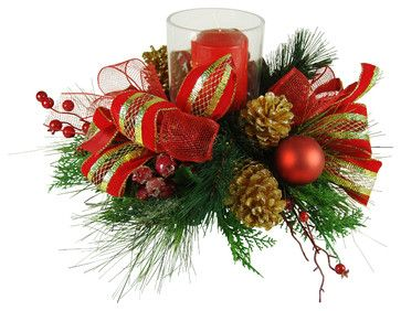 Faux Floral Christmas Candle Centerpiece - traditional - Holiday Accents And Figurines - TableCenterPieces