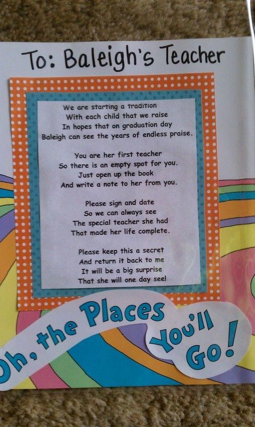 Presh! Create a secret book where each teacher the child has writes a secret note. Give as a graduation present.
