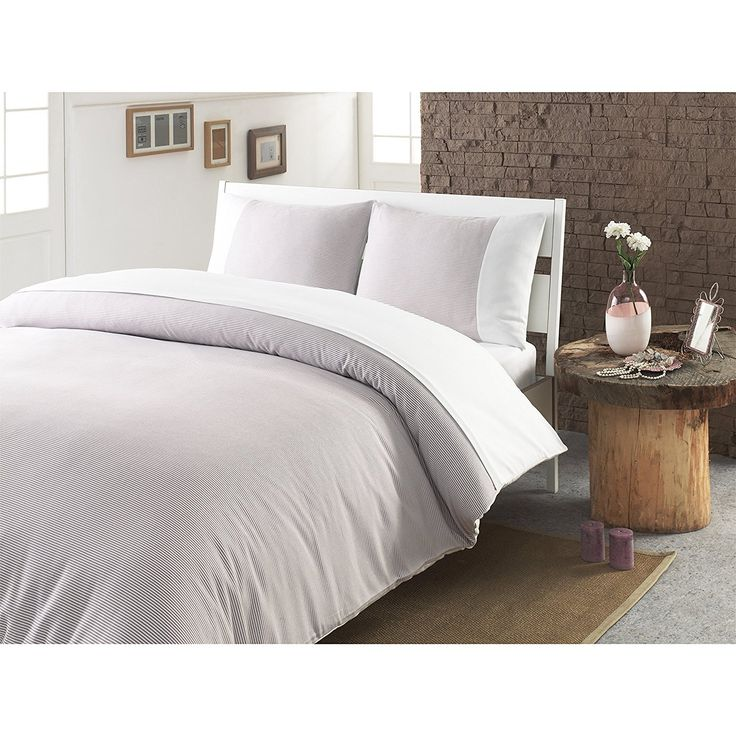 Queen Luxurious Beige Duvet Cover Set Stylish & High Class Bedding Strip Solid Pattern Turkish Cotton Traditional & Transitional Gorgeous & Attractive