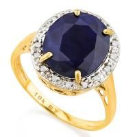LOVELY ! 6 CARAT DIFFUSION GENUINE SAPPHIRE & (16 PCS) DIAMOND 10KT SOLID GOLD RING