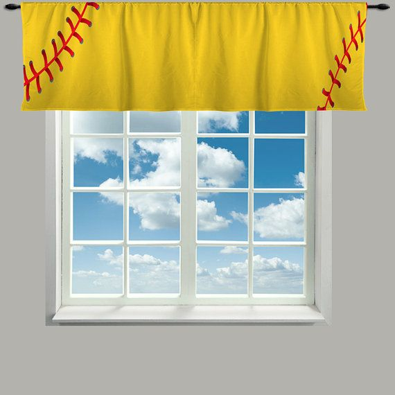 Items Similar To Custom Window Curtain Or Valance Stitched Yellow Softball Colors Featured Any Size On Etsy