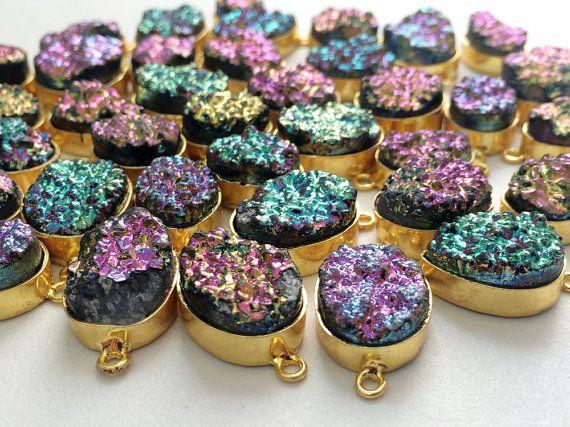 5 Pcs Druzy Connectors Titanium Druzy Multi Color by gemsforjewels