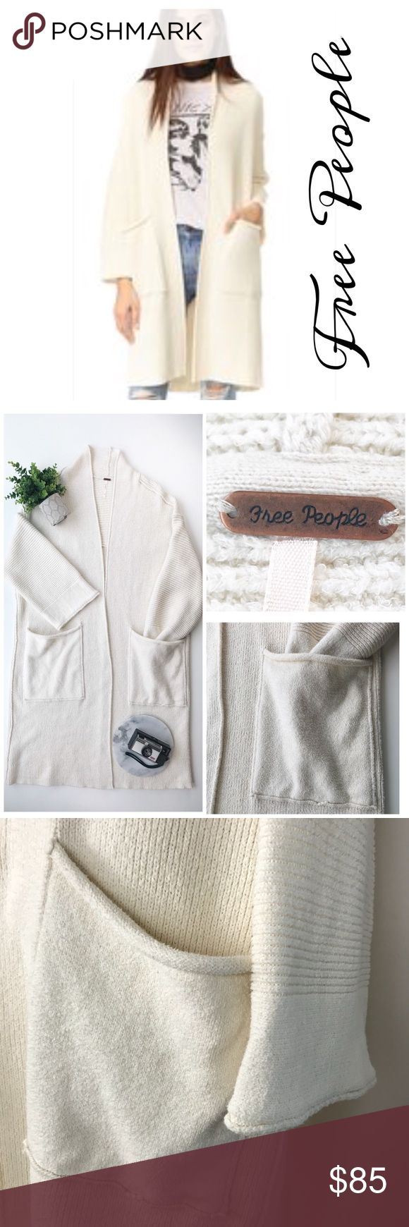 """Free People By The Campfire Long Cardigan Sweater Free People 'By The Campfire' long cardigan sweater in cream. Open front, roomy pockets, cozy. 56% cotton 44% nylon Size Large  Underarm to underarm: 27"""" Length, shoulder seam to bottom hem: 41"""" Inventory S26 Free People Sweaters Cardigans"""