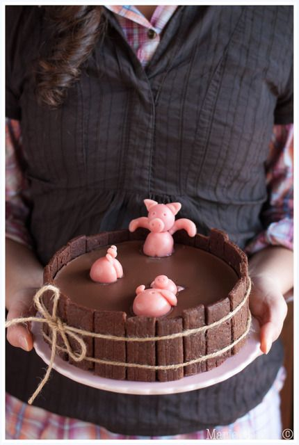 "gateau d'anniversaire  « Bain des 3 petits cochons »  (gateau au yaourt sucre de coco orange douce + ""planches"" en speculoos + ganache pâte à tartiner végétale coco-chocolat + petits cochons pâte d'amande rose...) par Marie Chioca - wonderful ""3 little pigs bath"" birthday cake  (yogurt cake with coco sugar and sweet orange oil + speculoos board + coco-chocolate vegan spread ganache + pink marzipan little pigs...)"