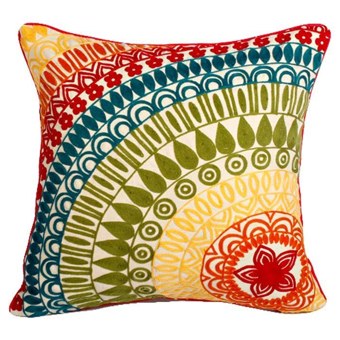 Rainbow Pillow - stunning!: Colour, Beautiful Cushions, Pillow Talk, Decorative Pillows, Living Room, Crafty Things, Colorful Pillows