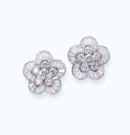 Elegant Diamond Floral Ear Clips, Graff
