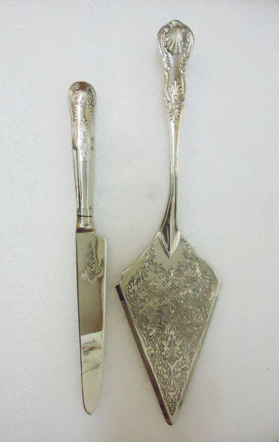 Vintage Silver Tone Wedding Cake Serving Knife Set King S Pattern Server Cutter Slicer In 2018 Chiceventsdecor At Etsy