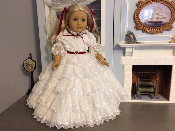 18 American Girl Doll White Lace Prayer Dress Scarlett