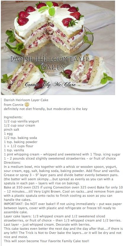 Danish Heirloom Layer Cake, recipe in English