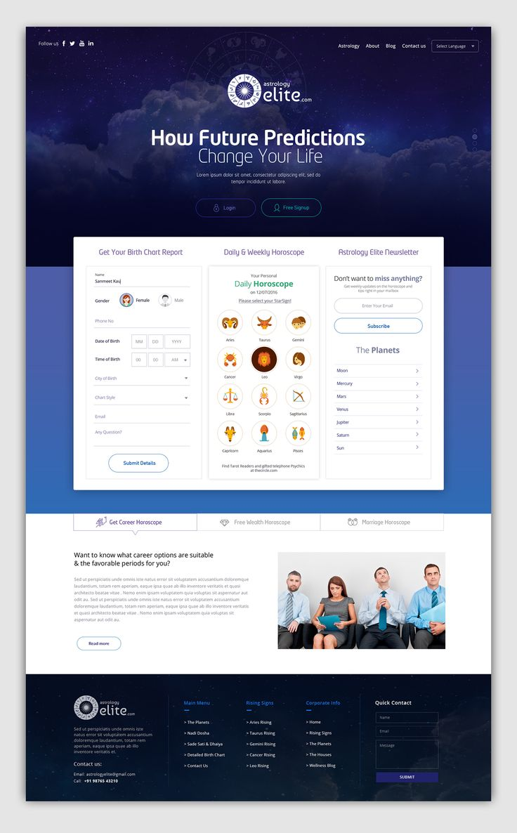 Astrology Elite Webdesign on Behance