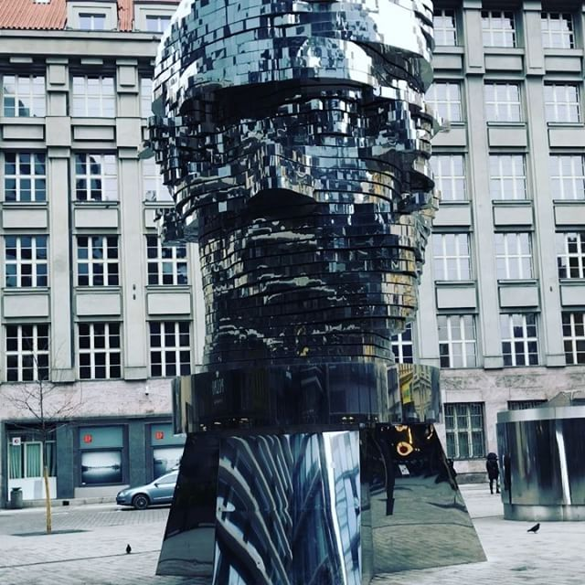 """flomaster auf Instagram: """"Located in a busy shopping center in #Prague, this twisting and reflective #sculpture depicting the head of #writer #Franz #Kafka is the…"""""""