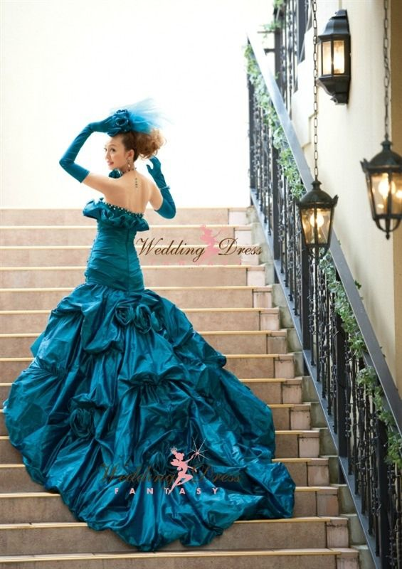 Teal wedding gowns teal blue wedding dress pink for Teal dress for wedding