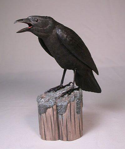 Original Wood Bird Carvings, 10 Inch American Crow Carved Wood Bird Sculpture at Songbird Garden