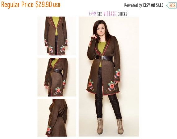 40% Off Xmas Sale Vintage Embroidered Sweater/ 90's Long Brown Cardigan/ Boho style/Buttoned Sweater/ Size L/40/ Free Shipping by SixVintageChicks on Etsy