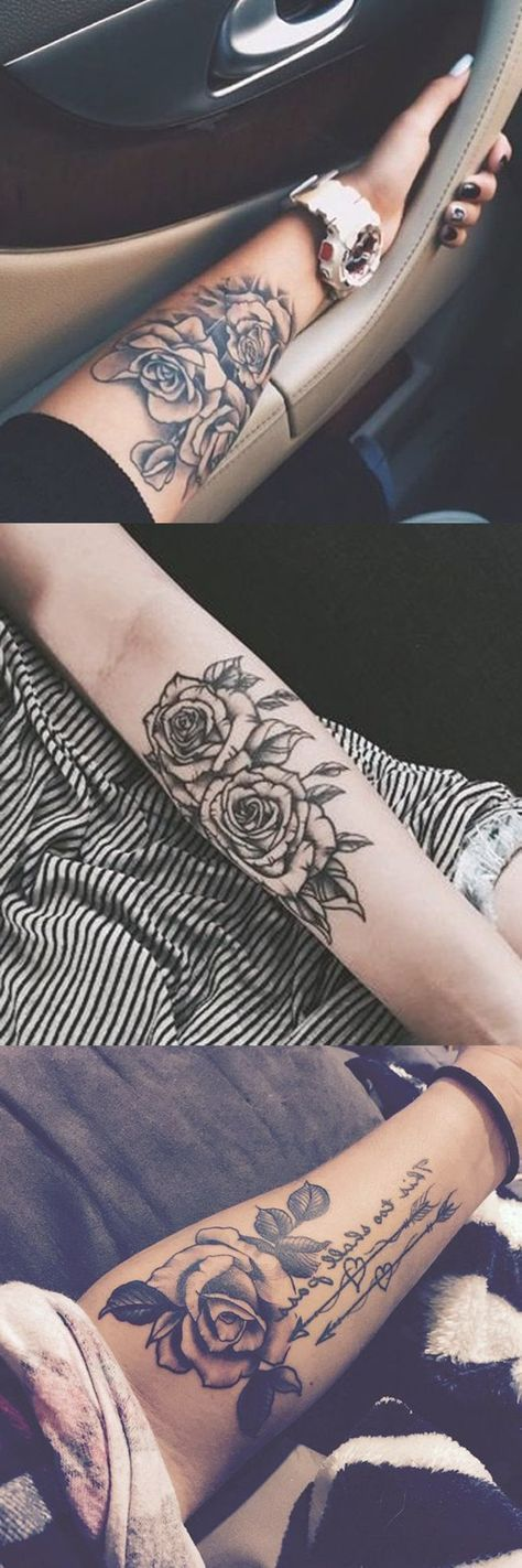 Black Rose Forearm Tattoo Ideas – Girly Realistic Floral Flower Arm Tat