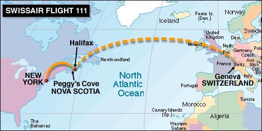 September 2 - A McDonnell Douglas MD-11 airliner (Swissair Flight 111) crashes near Peggys Cove, Nova Scotia, after taking off from New York City en route to Geneva; all 229 people on board are killed.