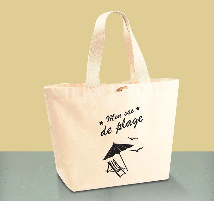 """Tote Bag CABAS 100% Coton BIO - """"Mon sac de plage"""""""