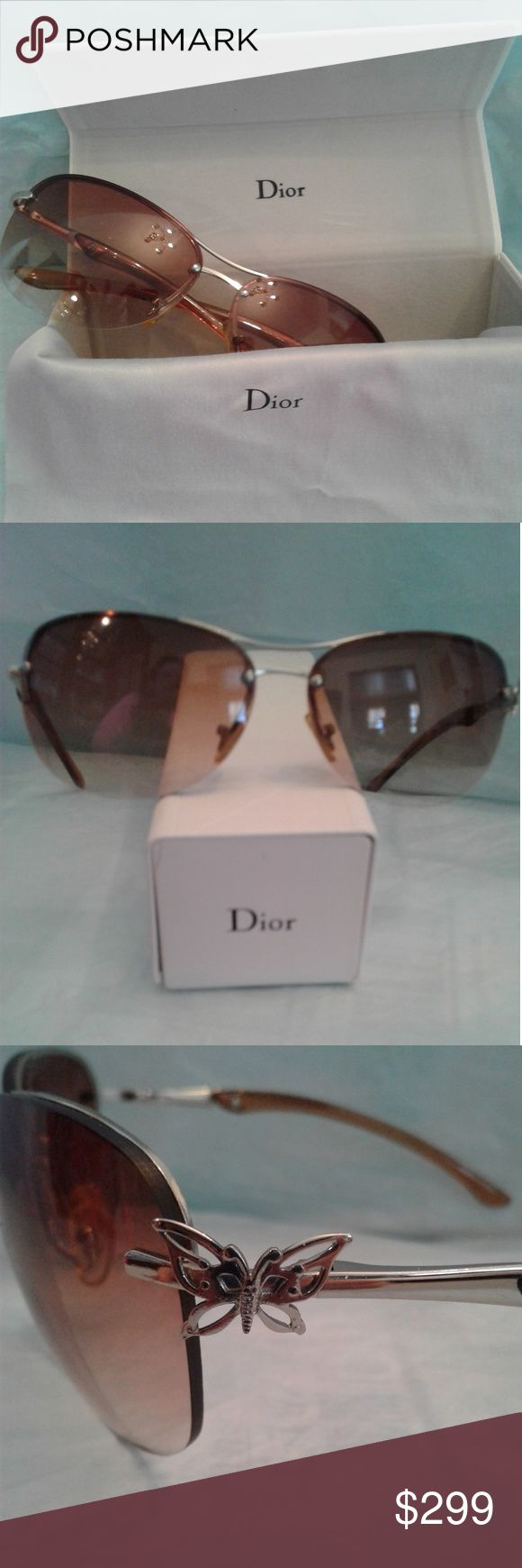 Christian Dior Vintage Sunglasses   EUC  Christian Dior Vintage Sunglasses   Classy Amber gradient lenses, butterfly  at the left temple, Dior in the left lens and Christian Dior on the right frame arm.   Although EUC, please keep in mind these are vintage sunglasses and review all pictures carefully and ask any questions.   Case (not original but Dior) and Dior cleaning cloth included Christian Dior Accessories Sunglasses