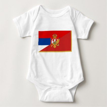 serbia montenegro flag country half symbol baby bodysuit - country gifts style diy gift ideas